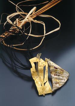 Laura balzelli pendente spilla in orocartapesta e pietre dure