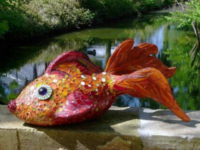 Poissson bulle sculpture pour jardin