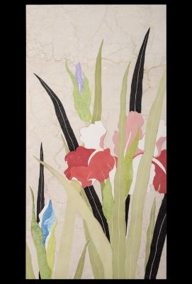 Iris pannello marmo scagliola cm 139x70