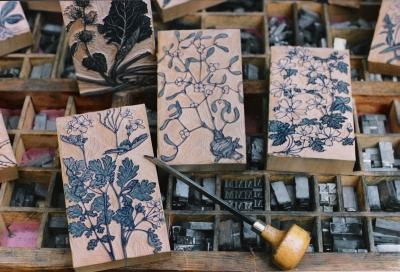 Cassetta caratteri bulino e legni