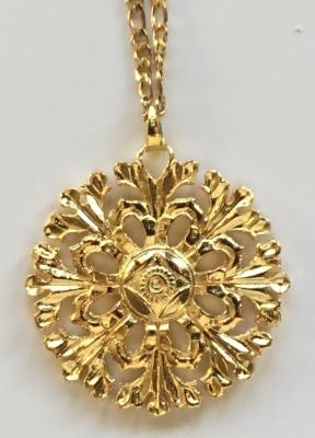 """ROSETÃ""""N - Colgante de plata chapada en oro."""