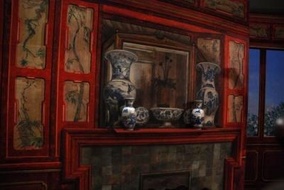 Creation et peinture d un decor de chinoiserie en trompe l oeil