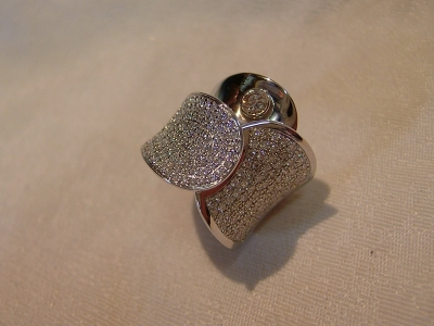 Bijouterie cheviron bague or gris diamants