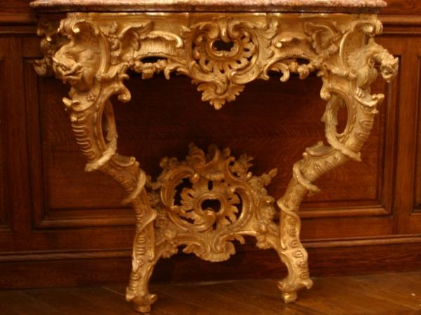 Console bois sculpte christian maury