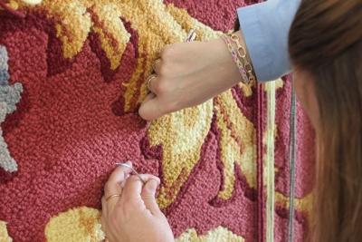 Como fabricar alfombra de nudo 2