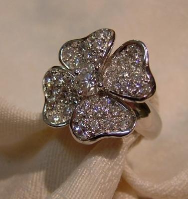 Bijouterie cheviron bague fleuror gris diamants