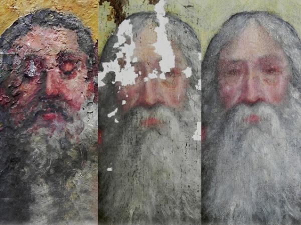 Dipinto su tela xvii secolo prima durante e dopo il restauro