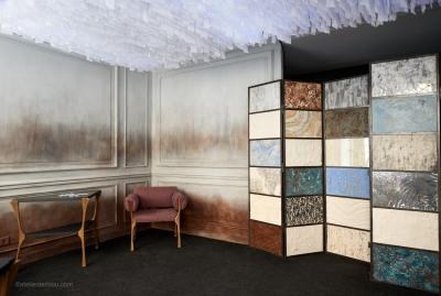 Boutique Quintessence, Paris, création et réalisation d'une peinture murale et d'un paravent d'échantillons (2015)