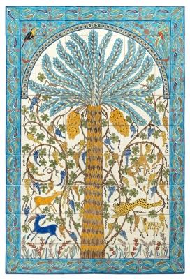 Grand Panneau de faïence, composé de 54 carreaux, décor sous émail, pour un jardin