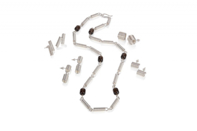 Essemge Spring Coil collection of earrings with opera necklace in smokey quartz