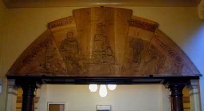 Art Deco Mixed Wood hand carved Mural - llay Miners Institute - Wrexham