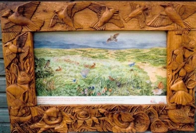 Hand Carved Green Oak Frames - Interpretive Frames (2 of 5) - Ynis Las - Aberystwyth