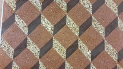 "Example of a flooring in ""cocciopesto"" (tridimentional style)"