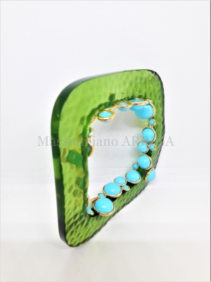 Plastic bangle. with gold and turqoise. euro 2.400,00