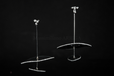 Titanium and diamond earrings