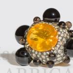anello in oro opale e sfere di onice con diamanti