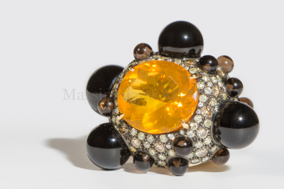 Fire opal ,onyx balls and diamonds gold ring