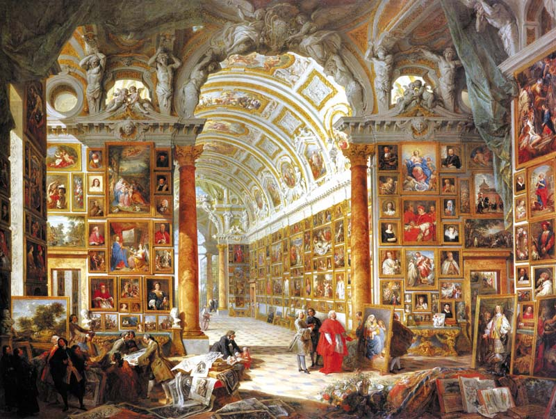 Small pannini giovanni paolo interior of a picture gallery with the collection of cardinal silvio valenti gonzaga italy