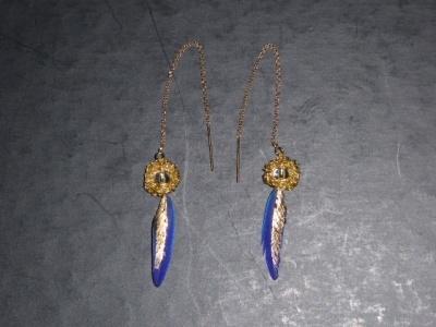 Boucles d'oreilles or et plume bleue