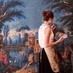 Ce tableau est un carton de tapisserie (modèle) du XVIIIe siècle. Il s'agit d'une peinture à l'eau sur toile dont la couche picturale se soulevait et qui nécessitait donc un refixage et de nombreuses retouches dans les lacunes.Retouche d'un grand format