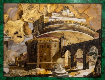 Castel Sant'Angelo after Piranesi in Pietre Dure. The sky on fire is realised by aghates with gold leaf backing