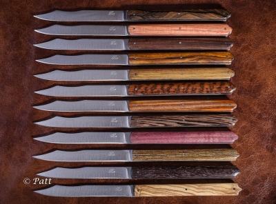 Le Napoléon - couteaux de table, lames acier 14c28, manches, 12 essences différentes.