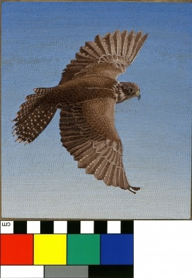 Falcon in micromosaic with Object ID size and color reference