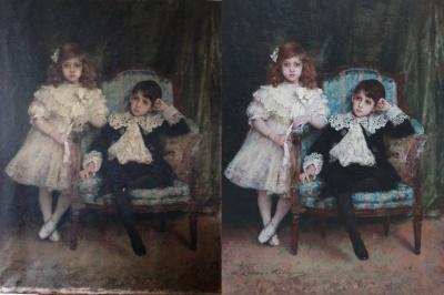 Avant - après restauration d'une huile sur toile grand format datant du XIXe siècle.