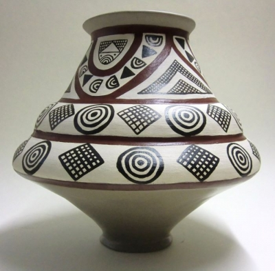 High neck vessel with engobe painting