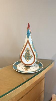Set de 2 pièces décor or fin 24KT, bouteille bouchon carafe 40cm et plateau assorti