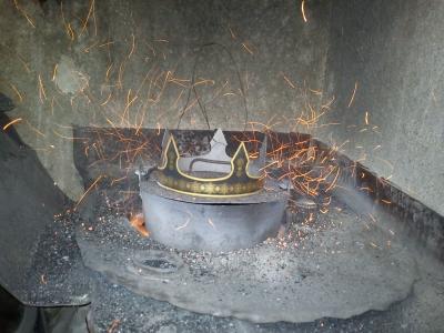 Incrustación terminada, ahora la pavonaremos para darle esa oxidación negra que caracteriza al Damasquinado