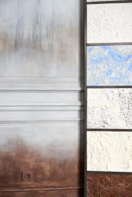 Boutique Quintessence, Paris, réalisation d'une patine sur les murs et paravent d'échantillons (2015)