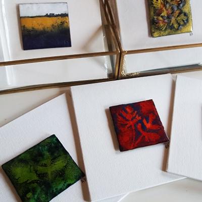 Collection-PETITES-CARTES--tableaux-émaillés--feuilles automne