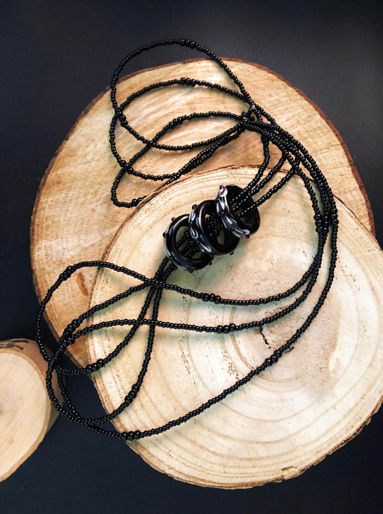 Francesca bortolaso glass artist necklace black rings2 copy