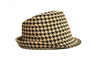 Chapeau feutre laine imprimé pied de coq