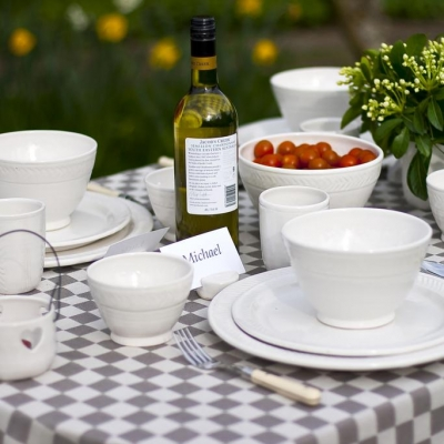 Plates and bowls of the rustic dinner set