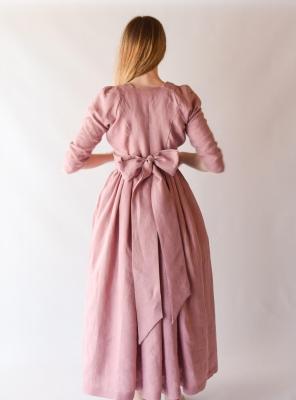 ELEONORE, Regency Dress in Pink Linen