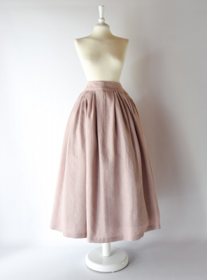 HELOISE, 18th-Century Petticoat in Pastel Pink Linen