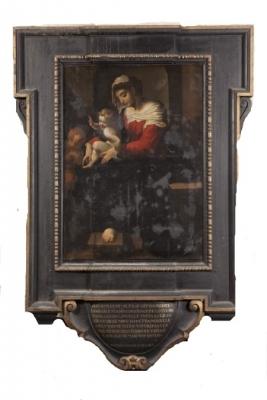photo avant traitement de la Vierge à l'Enfnat et St Jean de l'église Notre Dame des Victoires au Sablon Bruxelles