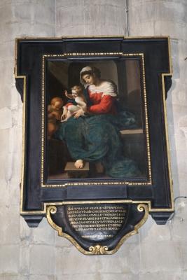 photo après traitement de la Vierge à l'Enfant et St Jean attribuée à Abraham Janssen à l'église Notre Dame des Victoires au Sablon